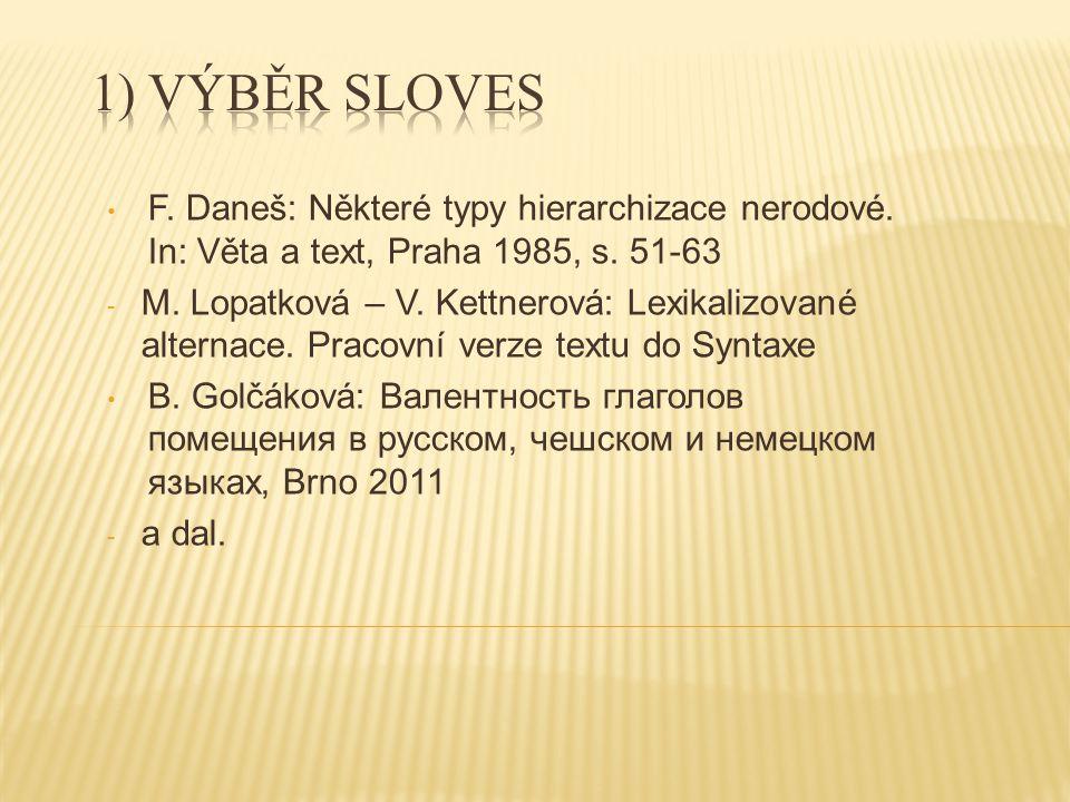 F. Daneš: Některé typy hierarchizace nerodové. In: Věta a text, Praha 1985, s.