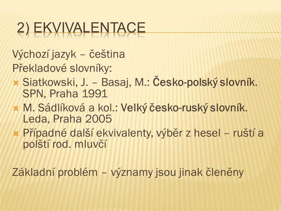 Výchozí jazyk – čeština Překladové slovníky:  Siatkowski, J. – Basaj, M.: Česko-polský slovník. SPN, Praha 1991  M. Sádlíková a kol.: Velký česko-ru