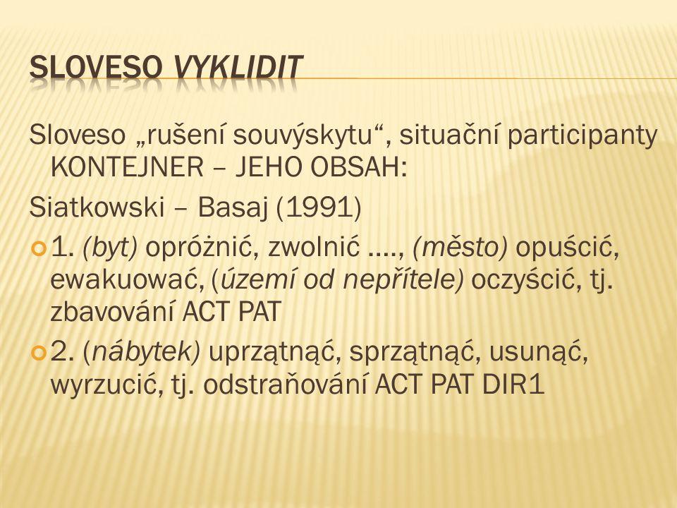 """Sloveso """"rušení souvýskytu"""", situační participanty KONTEJNER – JEHO OBSAH: Siatkowski – Basaj (1991) 1. (byt) opróżnić, zwolnić …., (město) opuścić, e"""