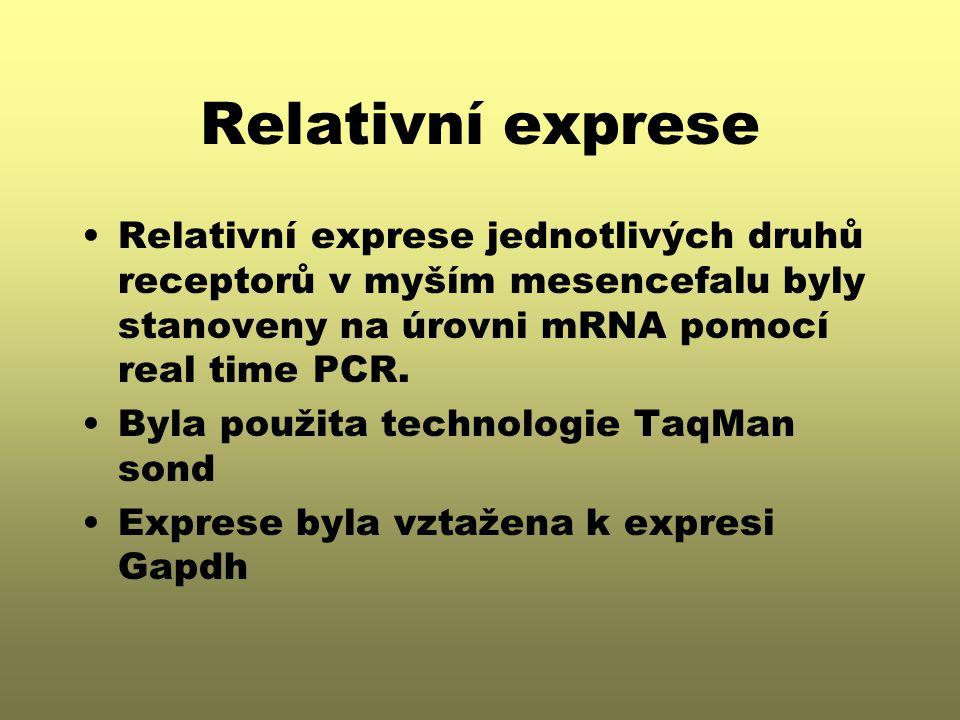 Relativní exprese Relativní exprese jednotlivých druhů receptorů v myším mesencefalu byly stanoveny na úrovni mRNA pomocí real time PCR.