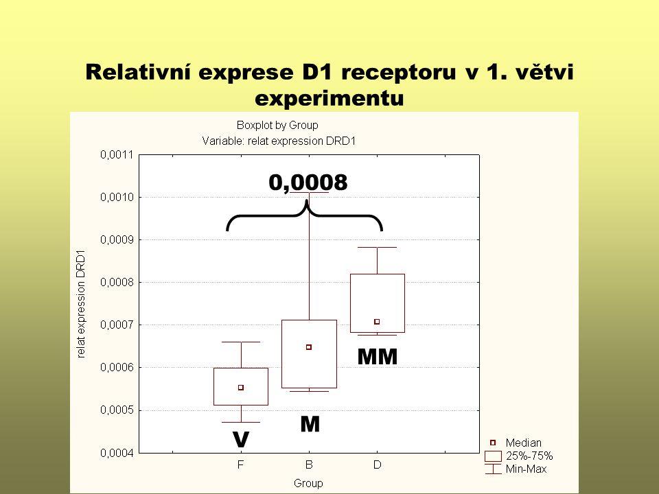 Relativní exprese D1 receptoru v 1. větvi experimentu V M MM 0,0008