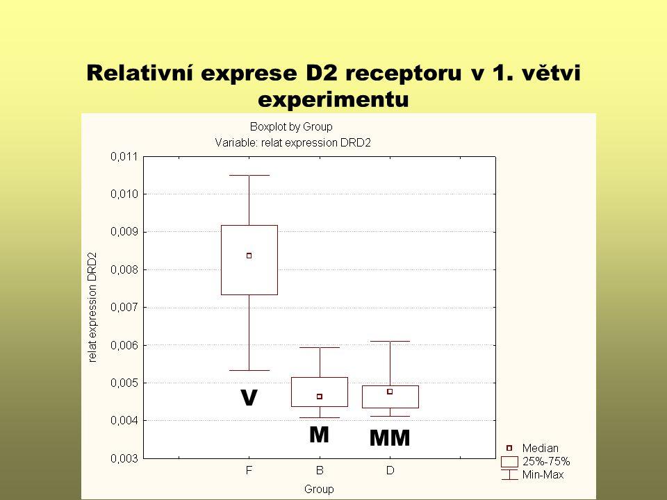 Relativní exprese D2 receptoru v 1. větvi experimentu V M MM