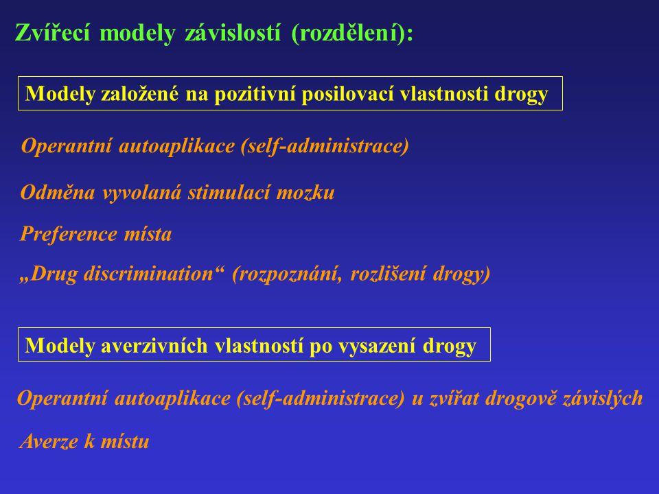 """Zvířecí modely závislostí (rozdělení): Modely založené na pozitivní posilovací vlastnosti drogy Modely averzivních vlastností po vysazení drogy Operantní autoaplikace (self-administrace) Odměna vyvolaná stimulací mozku Preference místa """"Drug discrimination (rozpoznání, rozlišení drogy) Operantní autoaplikace (self-administrace) u zvířat drogově závislých Averze k místu"""