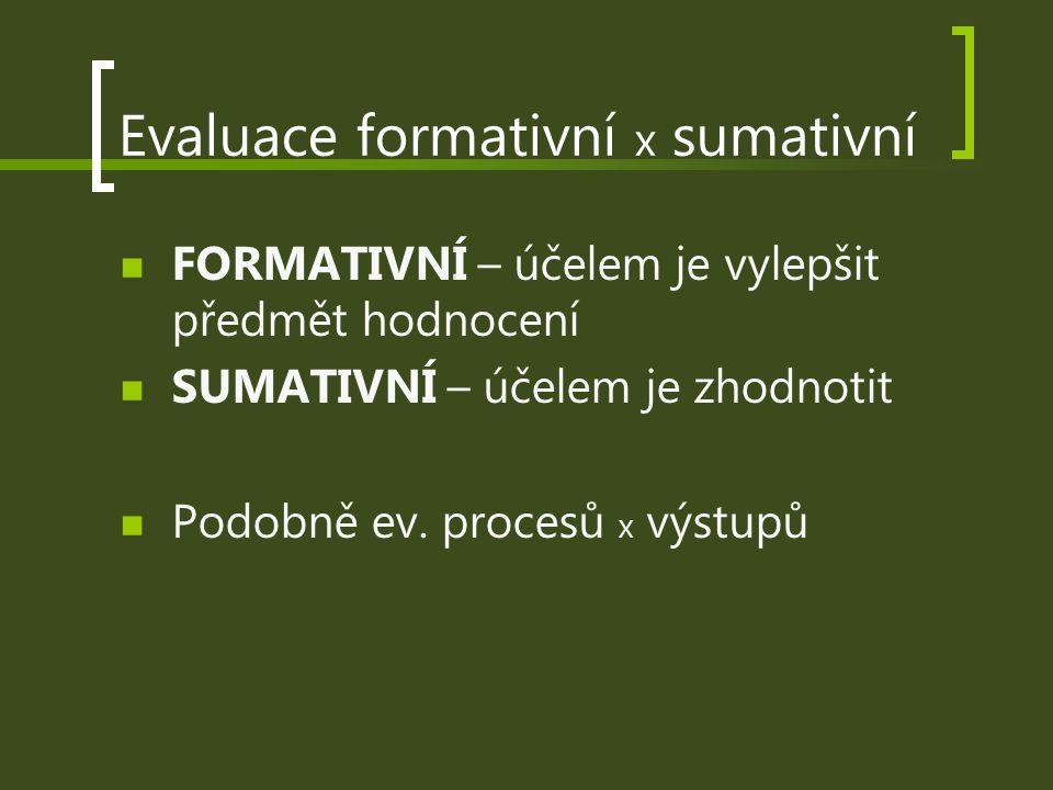 Evaluace formativní x sumativní FORMATIVNÍ – účelem je vylepšit předmět hodnocení SUMATIVNÍ – účelem je zhodnotit Podobně ev. procesů x výstupů