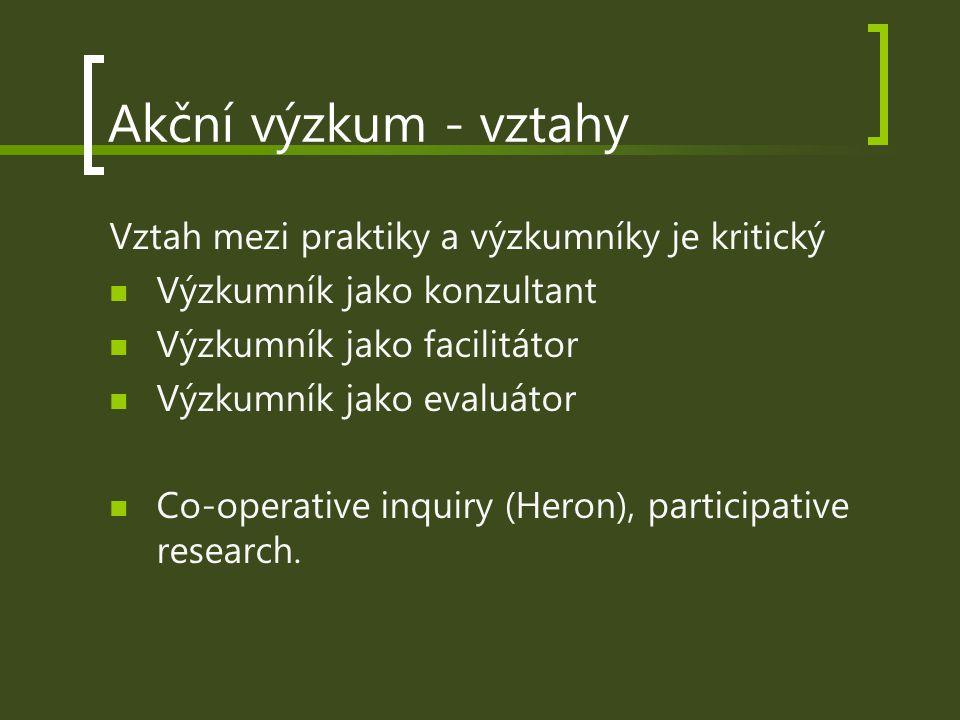 Akční výzkum - vztahy Vztah mezi praktiky a výzkumníky je kritický Výzkumník jako konzultant Výzkumník jako facilitátor Výzkumník jako evaluátor Co-op