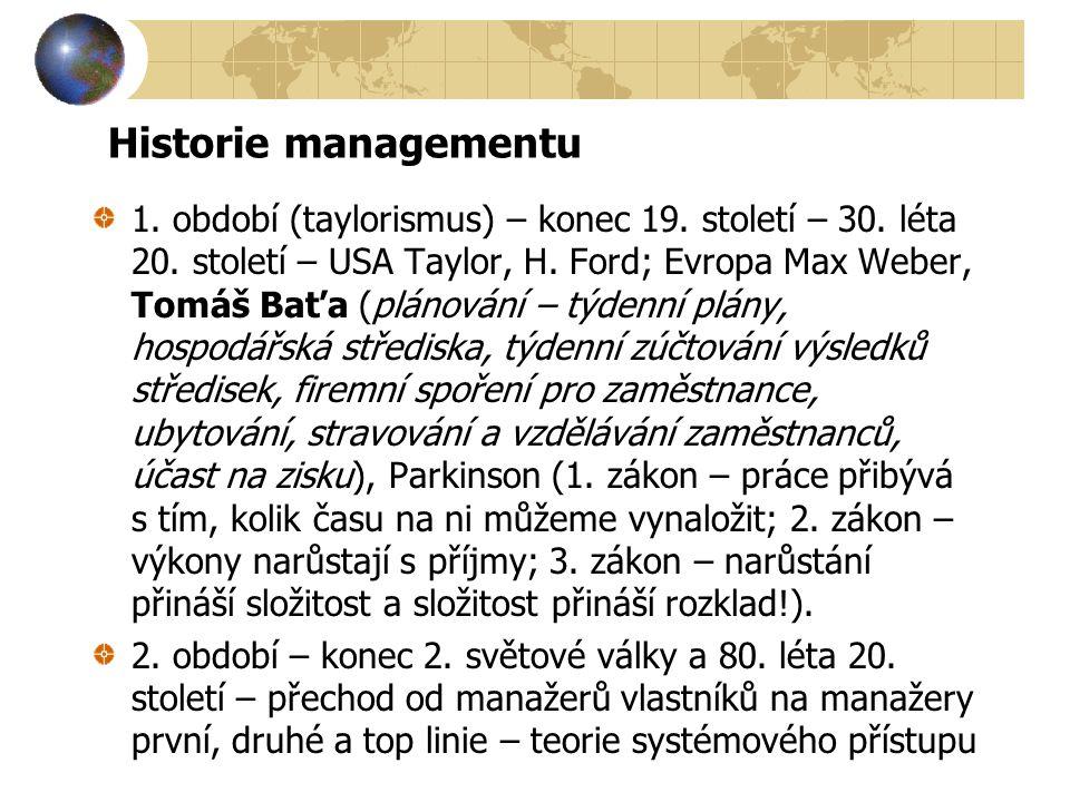 Historie managementu 1. období (taylorismus) – konec 19. století – 30. léta 20. století – USA Taylor, H. Ford; Evropa Max Weber, Tomáš Baťa (plánování