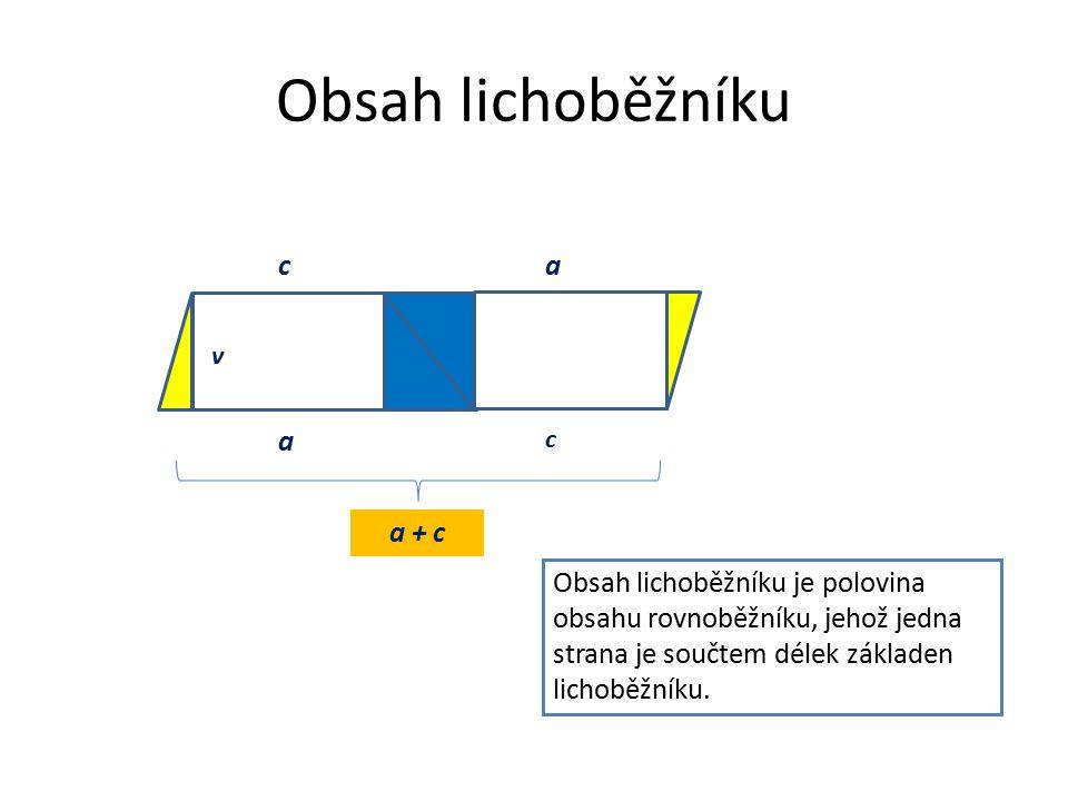 Obsah lichoběžníku a c v a c a + c Obsah lichoběžníku je polovina obsahu rovnoběžníku, jehož jedna strana je součtem délek základen lichoběžníku.
