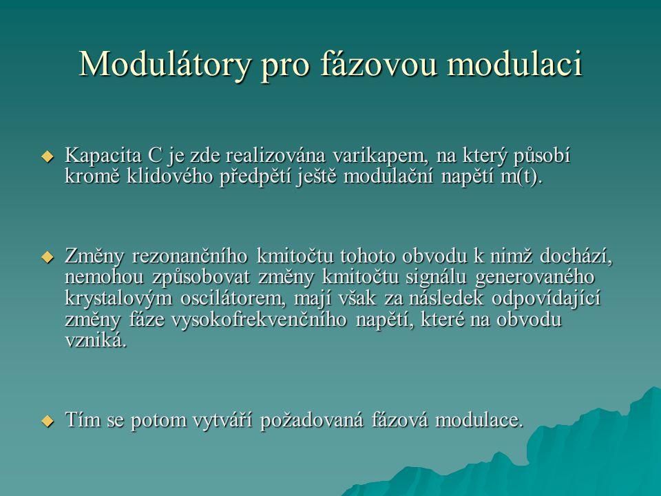 Modulátory pro fázovou modulaci  Kapacita C je zde realizována varikapem, na který působí kromě klidového předpětí ještě modulační napětí m(t).  Změ