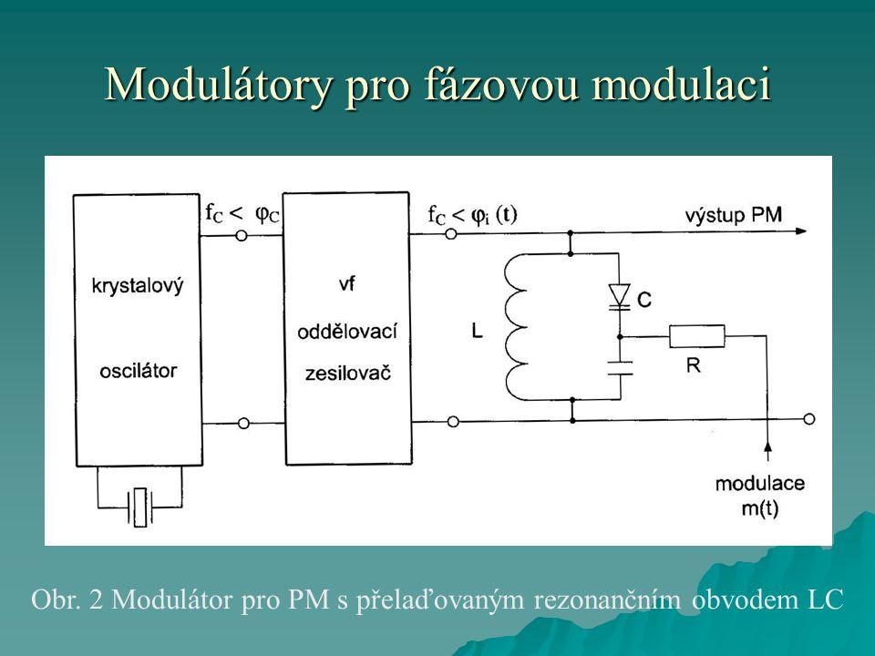 Modulátory pro fázovou modulaci Obr. 2 Modulátor pro PM s přelaďovaným rezonančním obvodem LC