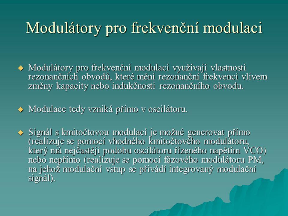 Modulátory pro frekvenční modulaci  Modulátory pro frekvenční modulaci využívají vlastnosti rezonančních obvodů, které mění rezonanční frekvenci vliv