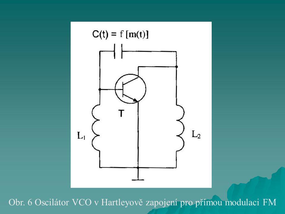 Obr. 6 Oscilátor VCO v Hartleyově zapojení pro přímou modulaci FM