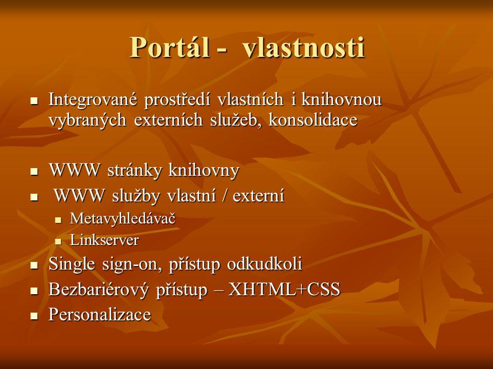 Portál - vlastnosti Integrované prostředí vlastních i knihovnou vybraných externích služeb, konsolidace Integrované prostředí vlastních i knihovnou vybraných externích služeb, konsolidace WWW stránky knihovny WWW stránky knihovny WWW služby vlastní / externí WWW služby vlastní / externí Metavyhledávač Metavyhledávač Linkserver Linkserver Single sign-on, přístup odkudkoli Single sign-on, přístup odkudkoli Bezbariérový přístup – XHTML+CSS Bezbariérový přístup – XHTML+CSS Personalizace Personalizace