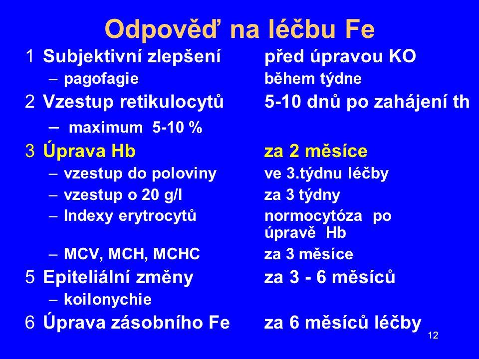 12 Odpověď na léčbu Fe 1Subjektivní zlepšenípřed úpravou KO –pagofagie během týdne 2Vzestup retikulocytů5-10 dnů po zahájení th – maximum 5-10 % 3Úpra