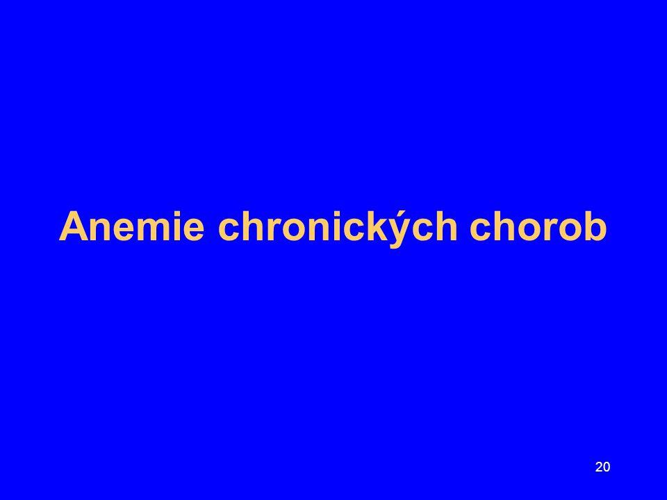 """21 Zásady léčby anémie chronických chorob Obvykle jde """"pouze o středně těžkou anémii Pokles Hb závisí na aktivitě základní choroby Léčba základní choroby vede ke zlepšení anémie Riziko transfúzí ery masy je často vyšší než potenciální benefit Parenterální Fe většinou není doporučeno –s výjimkou současného deficitu Fe Možnost léčby erythropoetinem"""