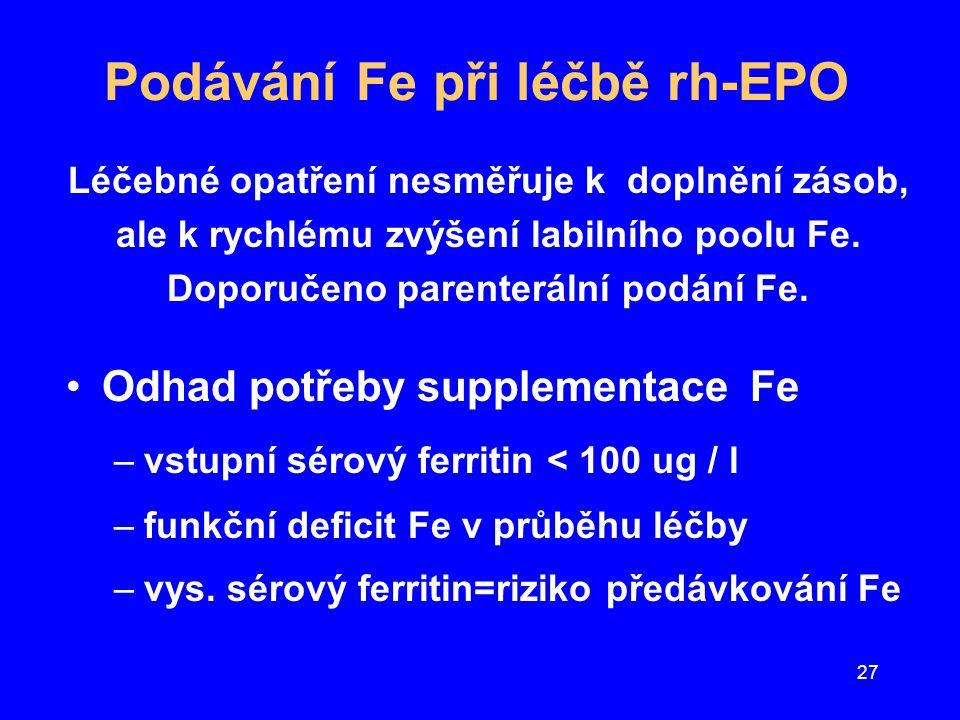 27 Podávání Fe při léčbě rh-EPO Léčebné opatření nesměřuje k doplnění zásob, ale k rychlému zvýšení labilního poolu Fe. Doporučeno parenterální podání