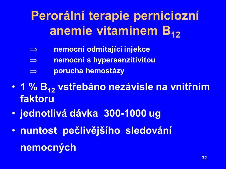 32 Perorální terapie perniciozní anemie vitaminem B 12  nemocní odmítající injekce  nemocní s hypersenzitivitou  porucha hemostázy 1 % B 12 vstřebá
