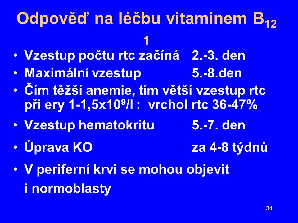 34 Odpověď na léčbu vitaminem B 12 1 Vzestup počtu rtc začíná 2.-3. den Maximální vzestup 5.-8.den Čím těžší anemie, tím větší vzestup rtc při ery 1-1