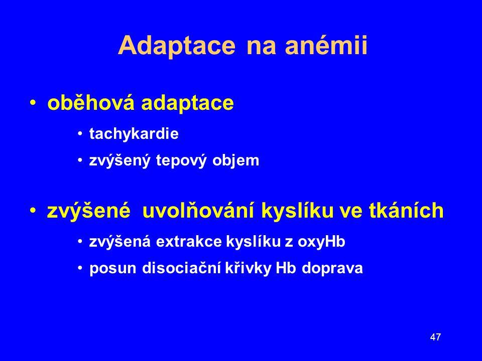 47 Adaptace na anémii oběhová adaptace tachykardie zvýšený tepový objem zvýšené uvolňování kyslíku ve tkáních zvýšená extrakce kyslíku z oxyHb posun d