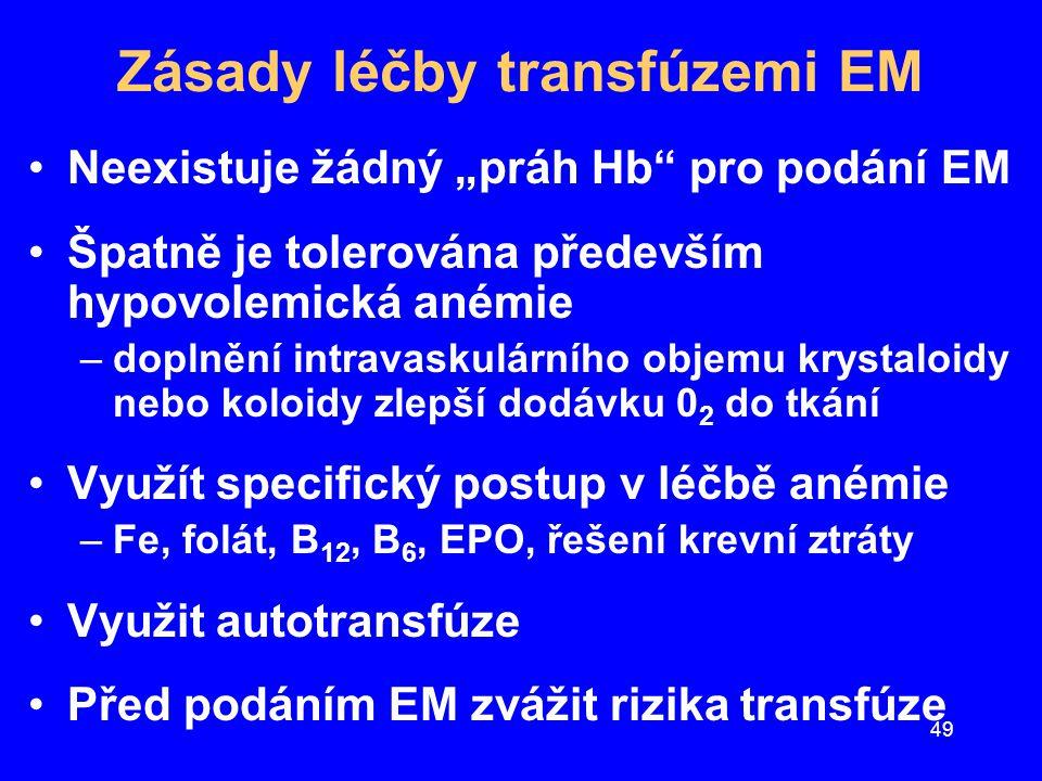 """49 Zásady léčby transfúzemi EM Neexistuje žádný """"práh Hb"""" pro podání EM Špatně je tolerována především hypovolemická anémie –doplnění intravaskulárníh"""