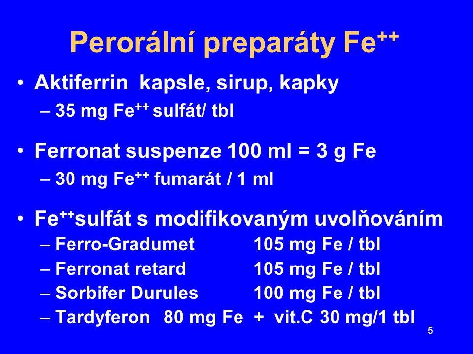 5 Perorální preparáty Fe ++ Aktiferrin kapsle, sirup, kapky –35 mg Fe ++ sulfát/ tbl Ferronat suspenze 100 ml = 3 g Fe –30 mg Fe ++ fumarát / 1 ml Fe
