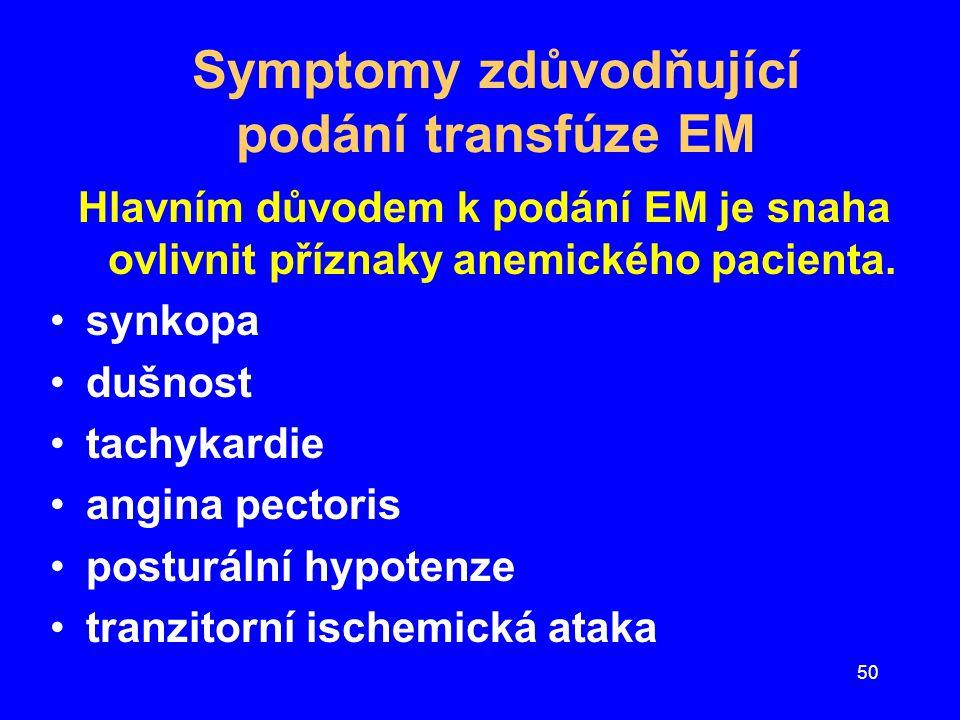 50 Symptomy zdůvodňující podání transfúze EM Hlavním důvodem k podání EM je snaha ovlivnit příznaky anemického pacienta. synkopa dušnost tachykardie a