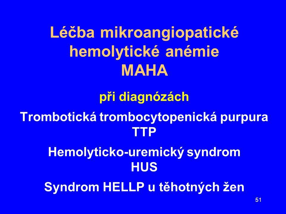 51 Léčba mikroangiopatické hemolytické anémie MAHA při diagnózách Trombotická trombocytopenická purpura TTP Hemolyticko-uremický syndrom HUS Syndrom H