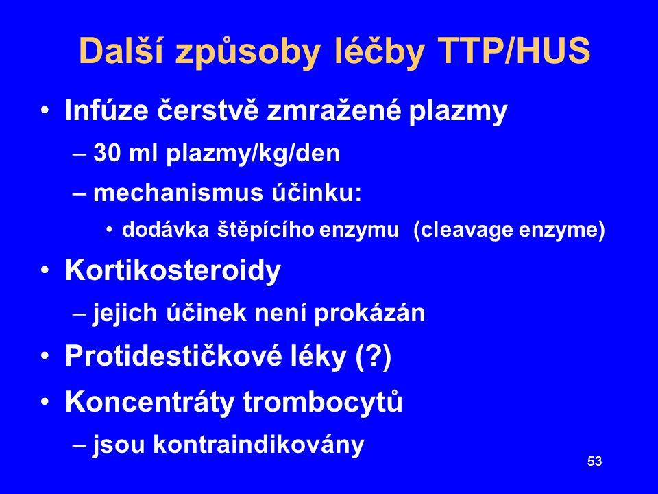 53 Další způsoby léčby TTP/HUS Infúze čerstvě zmražené plazmy –30 ml plazmy/kg/den –mechanismus účinku: dodávka štěpícího enzymu (cleavage enzyme) Kor