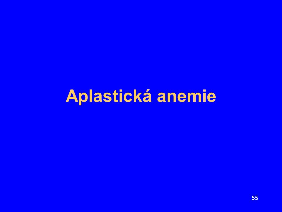 56 Zásady léčby aplastické anémie Dříve: kortikoidy a anabolické steroidy –80%léčených umíralo do roka od zjištění dg.
