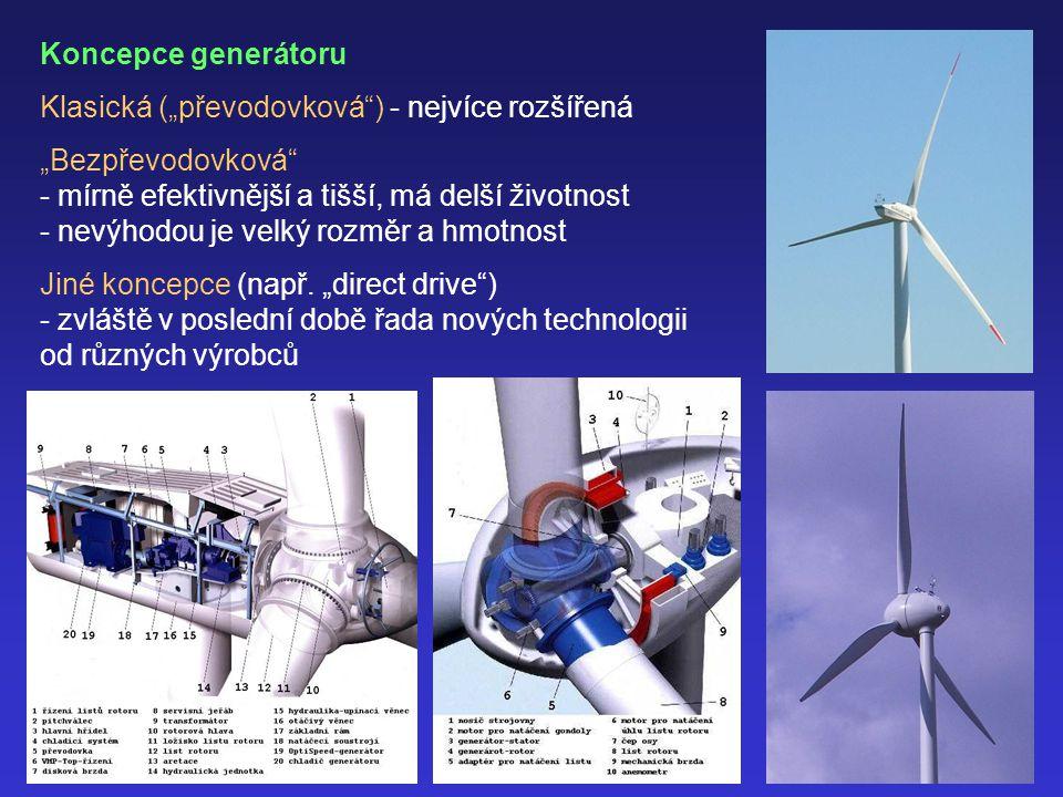 """Koncepce generátoru Klasická (""""převodovková ) - nejvíce rozšířená """"Bezpřevodovková - mírně efektivnější a tišší, má delší životnost - nevýhodou je velký rozměr a hmotnost Jiné koncepce (např."""