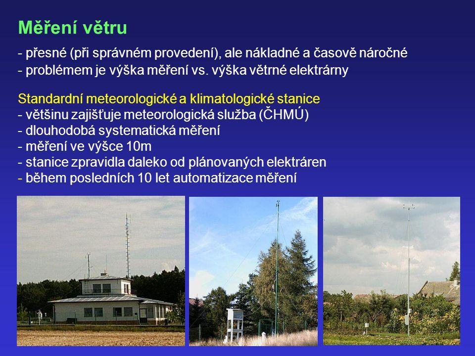 Měření větru - přesné (při správném provedení), ale nákladné a časově náročné - problémem je výška měření vs.