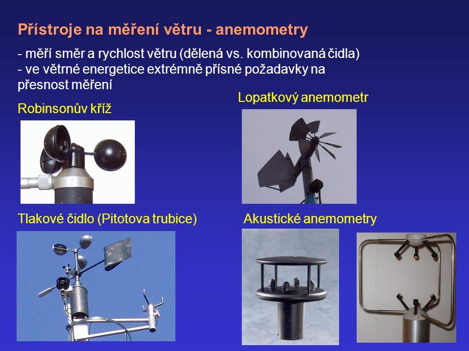 Přístroje na měření větru - anemometry - měří směr a rychlost větru (dělená vs.