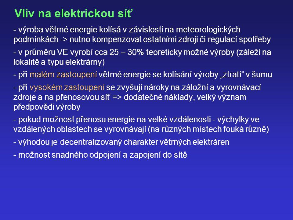 """Vliv na elektrickou síť - výroba větrné energie kolísá v závislostí na meteorologických podmínkách -> nutno kompenzovat ostatními zdroji či regulací spotřeby - v průměru VE vyrobí cca 25 – 30% teoreticky možné výroby (záleží na lokalitě a typu elektrárny) - při malém zastoupení větrné energie se kolísání výroby """"ztratí v šumu - při vysokém zastoupení se zvyšují nároky na záložní a vyrovnávací zdroje a na přenosovou síť => dodatečné náklady, velký význam předpovědi výroby - pokud možnost přenosu energie na velké vzdálenosti - výchylky ve vzdálených oblastech se vyrovnávají (na různých místech fouká různě) - výhodou je decentralizovaný charakter větrných elektráren - možnost snadného odpojení a zapojení do sítě"""