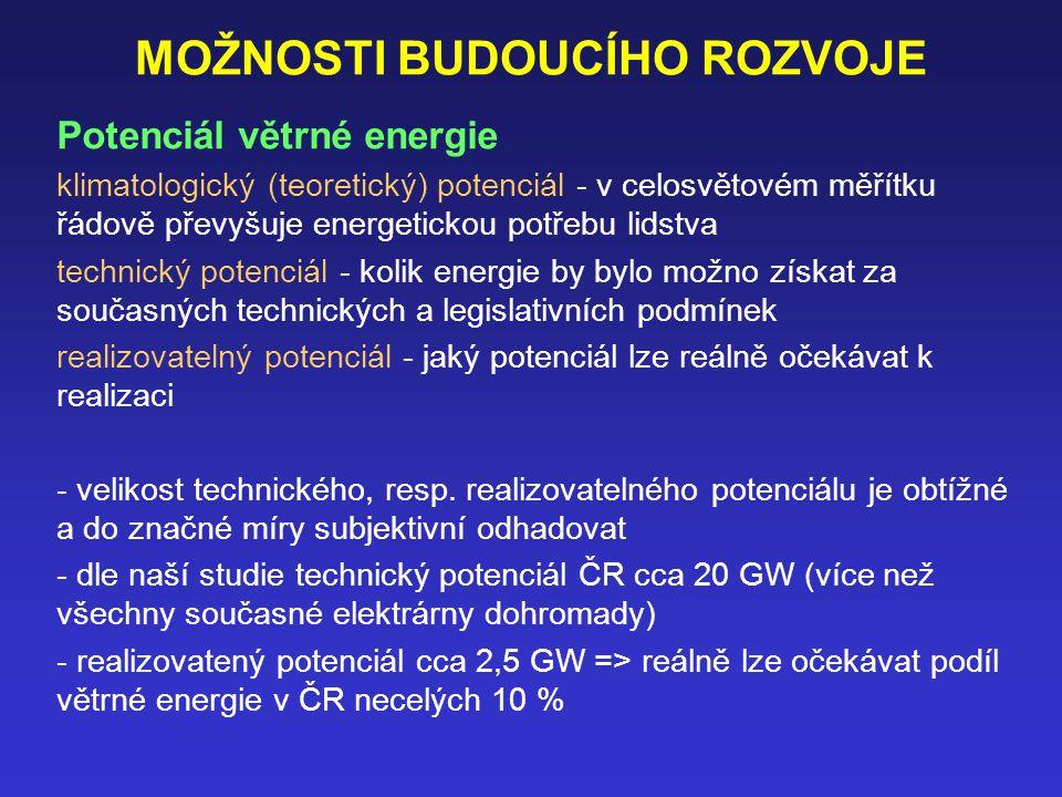 MOŽNOSTI BUDOUCÍHO ROZVOJE Potenciál větrné energie klimatologický (teoretický) potenciál - v celosvětovém měřítku řádově převyšuje energetickou potřebu lidstva technický potenciál - kolik energie by bylo možno získat za současných technických a legislativních podmínek realizovatelný potenciál - jaký potenciál lze reálně očekávat k realizaci - velikost technického, resp.