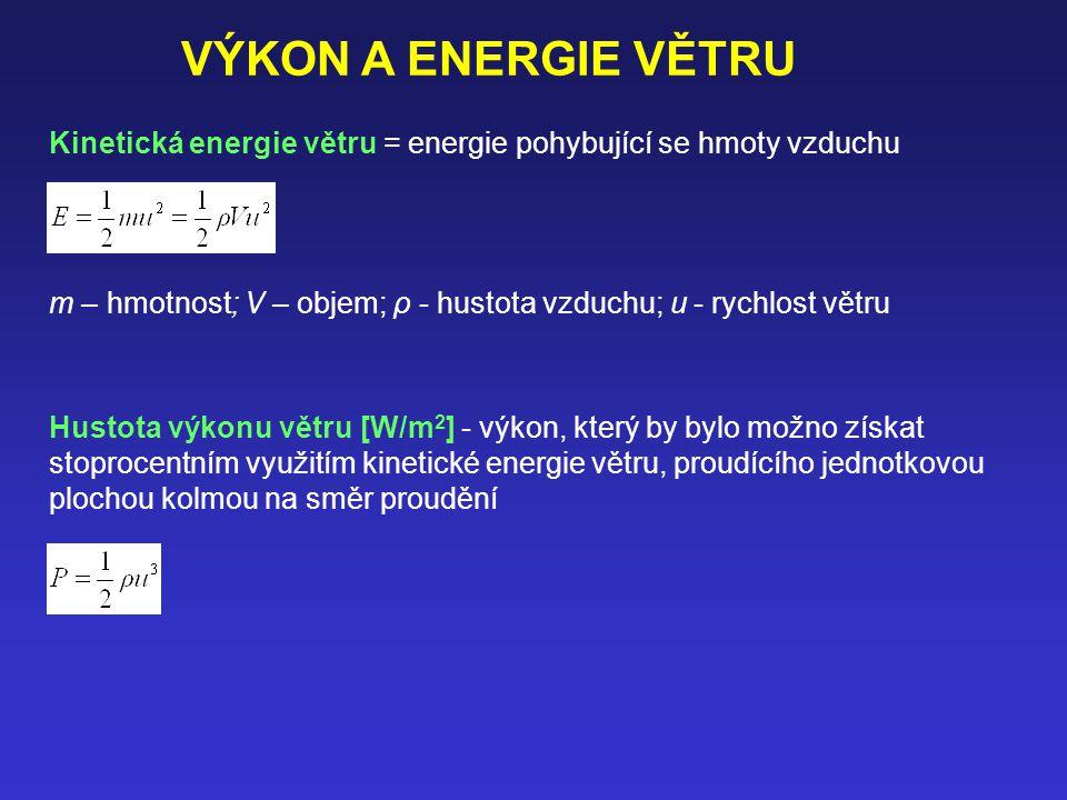 Kinetická energie větru = energie pohybující se hmoty vzduchu m – hmotnost; V – objem; ρ - hustota vzduchu; u - rychlost větru Hustota výkonu větru [W/m 2 ] - výkon, který by bylo možno získat stoprocentním využitím kinetické energie větru, proudícího jednotkovou plochou kolmou na směr proudění VÝKON A ENERGIE VĚTRU