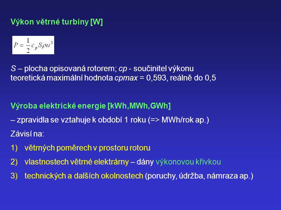 Výkon větrné turbíny [W] S – plocha opisovaná rotorem; cp - součinitel výkonu teoretická maximální hodnota cpmax = 0,593, reálně do 0,5 Výroba elektrické energie [kWh,MWh,GWh] – zpravidla se vztahuje k období 1 roku (=> MWh/rok ap.) Závisí na: 1)větrných poměrech v prostoru rotoru 2)vlastnostech větrné elektrárny – dány výkonovou křivkou 3)technických a dalších okolnostech (poruchy, údržba, námraza ap.)