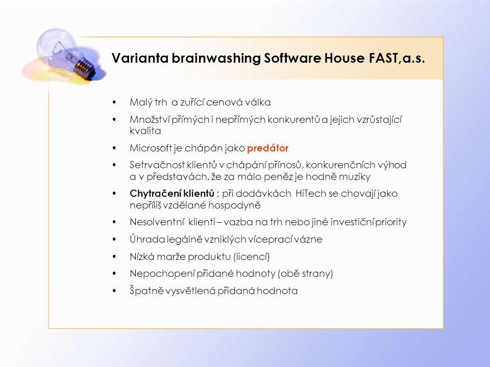 Varianta brainwashing Software House FAST,a.s. Malý trh a zuřící cenová válka Množství přímých i nepřímých konkurentů a jejich vzrůstající kvalita Mic