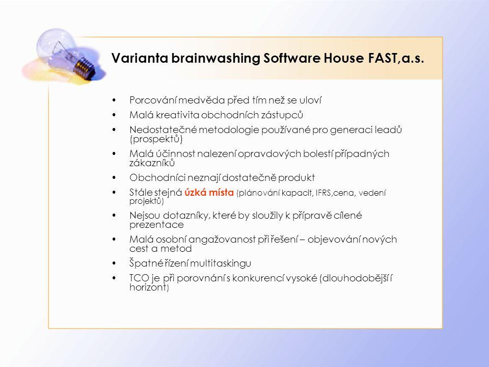 Varianta brainwashing Software House FAST,a.s. Porcování medvěda před tím než se uloví Malá kreativita obchodních zástupců Nedostatečné metodologie po