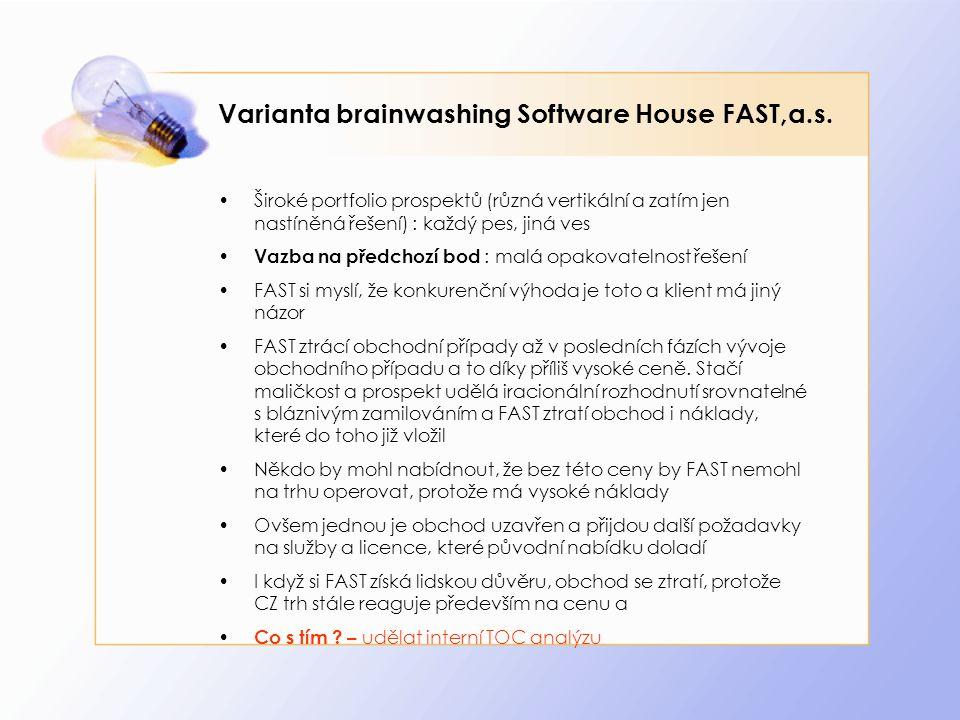 Varianta brainwashing Software House FAST,a.s. Široké portfolio prospektů (různá vertikální a zatím jen nastíněná řešení) : každý pes, jiná ves Vazba