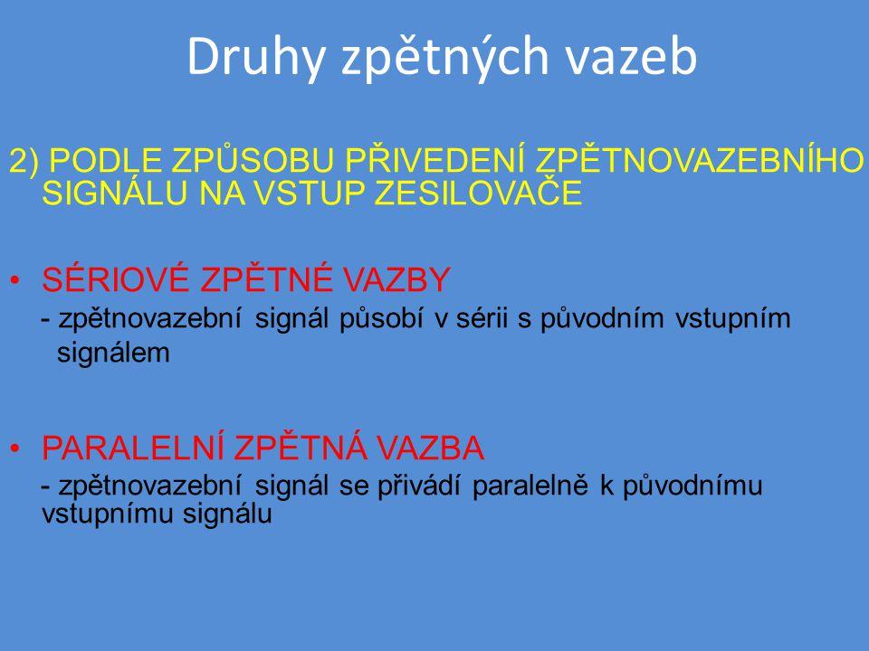 Druhy zpětných vazeb 2) PODLE ZPŮSOBU PŘIVEDENÍ ZPĚTNOVAZEBNÍHO SIGNÁLU NA VSTUP ZESILOVAČE SÉRIOVÉ ZPĚTNÉ VAZBY - zpětnovazební signál působí v sérii s původním vstupním signálem PARALELNÍ ZPĚTNÁ VAZBA - zpětnovazební signál se přivádí paralelně k původnímu vstupnímu signálu