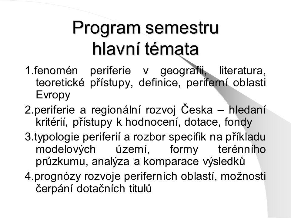 Program semestru hlavní témata 1.fenomén periferie v geografii, literatura, teoretické přístupy, definice, periferní oblasti Evropy 2.periferie a regionální rozvoj Česka – hledaní kritérií, přístupy k hodnocení, dotace, fondy 3.typologie periferií a rozbor specifik na příkladu modelových území, formy terénního průzkumu, analýza a komparace výsledků 4.prognózy rozvoje periferních oblastí, možnosti čerpání dotačních titulů