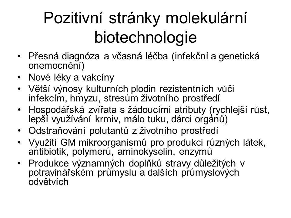 Pozitivní stránky molekulární biotechnologie Přesná diagnóza a včasná léčba (infekční a genetická onemocnění) Nové léky a vakcíny Větší výnosy kulturních plodin rezistentních vůči infekcím, hmyzu, stresům životního prostředí Hospodářská zvířata s žádoucími atributy (rychlejší růst, lepší využívání krmiv, málo tuku, dárci orgánů) Odstraňování polutantů z životního prostředí Využití GM mikroorganismů pro produkci různých látek, antibiotik, polymerů, aminokyselin, enzymů Produkce významných doplňků stravy důležitých v potravinářském průmyslu a dalších průmyslových odvětvích