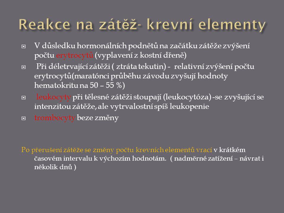  V důsledku hormonálních podnětů na začátku zátěže zvýšení počtu erytrocytů (vyplavení z kostní dřeně)  Při déletrvající zátěži ( ztráta tekutin) -