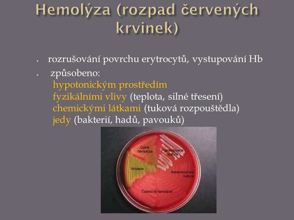  rozrušování povrchu erytrocytů, vystupování Hb  způsobeno: hypotonickým prostředím fyzikálními vlivy (teplota, silné třesení) chemickými látkami (t