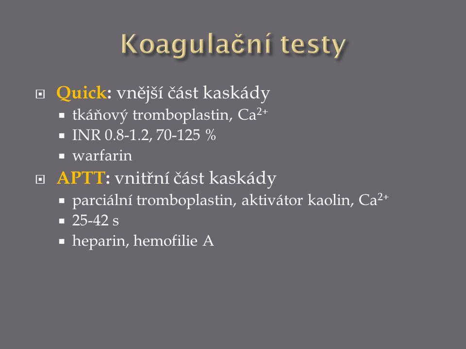  Quick: vnější část kaskády  tkáňový tromboplastin, Ca 2+  INR 0.8-1.2, 70-125 %  warfarin  APTT: vnitřní část kaskády  parciální tromboplastin,