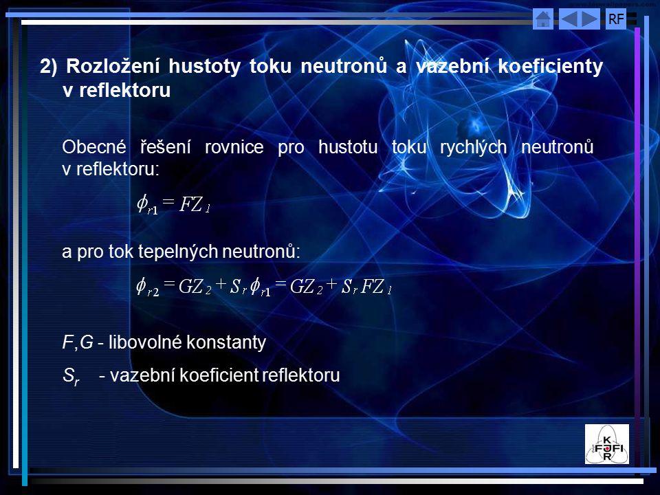 RF 2) Rozložení hustoty toku neutronů a vazební koeficienty v reflektoru Obecné řešení rovnice pro hustotu toku rychlých neutronů v reflektoru: a pro tok tepelných neutronů: F,G - libovolné konstanty S r - vazební koeficient reflektoru
