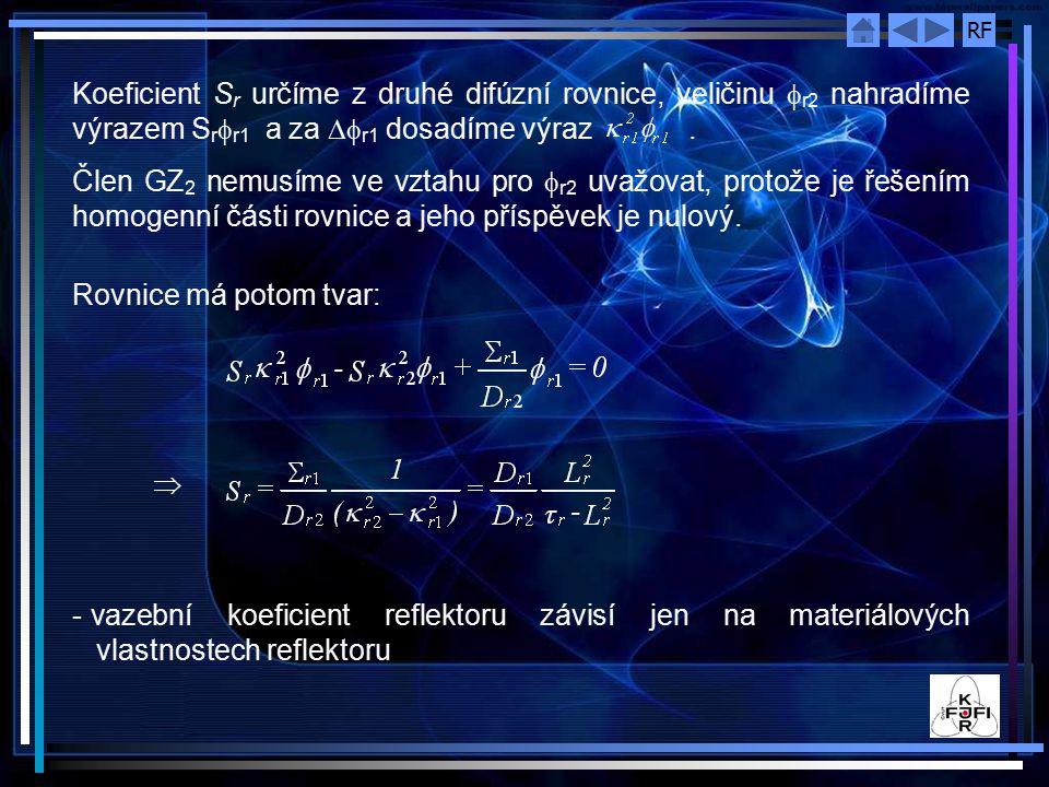 RF Koeficient S r určíme z druhé difúzní rovnice, veličinu  r2 nahradíme výrazem S r  r1 a za  r1 dosadíme výraz.