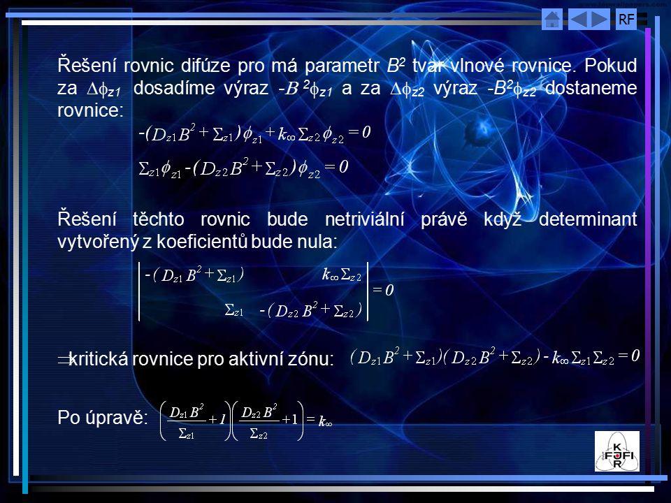 RF Řešení rovnic difúze pro má parametr B 2 tvar vlnové rovnice.