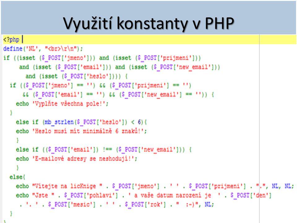 Využití konstanty v PHP