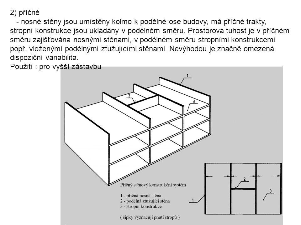 2) příčné - nosné stěny jsou umístěny kolmo k podélné ose budovy, má příčné trakty, stropní konstrukce jsou ukládány v podélném směru. Prostorová tuho