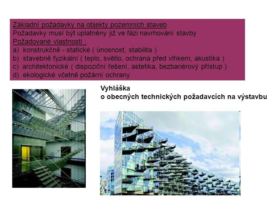 Materiálové členění pozemních staveb 1) Dřevěné stavby - hraněné a deskové řezivo - lepené materiály, lamely - aglomerované dřevo 2) Kamenné stavby - z lomového kamene - z opracovaného kamene 3) Keramické konstrukce - cihly - cihelné tvárnice 4) Betonové konstrukce - prostý beton - železobeton - předpjatý beton - lehčený beton 5) Kovové konstrukce - ocelové - litinové - ze slitin lehkých kovů 6) Konstrukce z plastů a skla - hlavně pro nenosné části stavebních objektů 7) Materiály na bázi textilu a pryže 8) Netradiční materiály - rákos, sláma, bambus, led, kůže,...